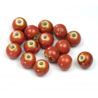 8mm Round Ceramic Beads, Coral Red, Pack of 20