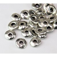 10x8mm Cornflake Disk Metalized Ceramic Beads, Antique Silver, Pack of 10