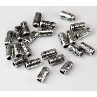 8x4mm Small Tube Metalized Ceramic Beads, Antique Silver