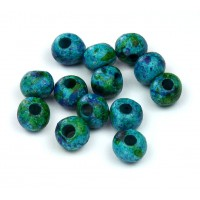 6mm Round Matte Ceramic Beads, Blue Green Mix