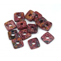 8mm Square Heishi Disk Matte Ceramic Beads, Fancy Purple Mix