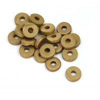 8mm Round Heishi Disk Matte Ceramic Beads, Sand Brown, Pack of 20