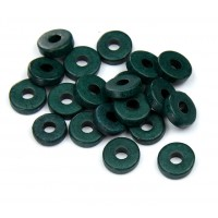 8mm Round Heishi Disk Matte Ceramic Beads, Hunter Green