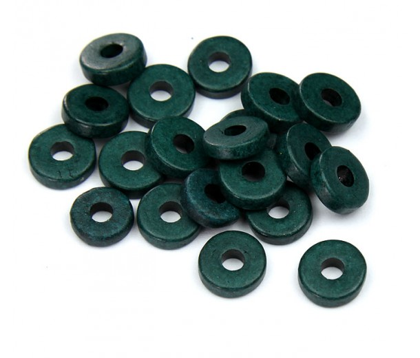 8mm Round Heishi Disk Matte Ceramic Beads, Hunter Green, Pack of 20