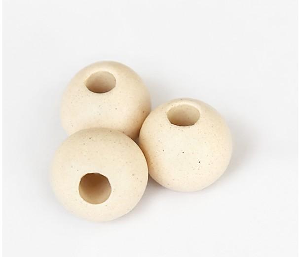 15mm Round Matte Ceramic Beads, Ecru