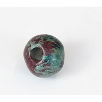 20mm Round Matte Ceramic Bead, Teal Khaki Mix, 1 Piece