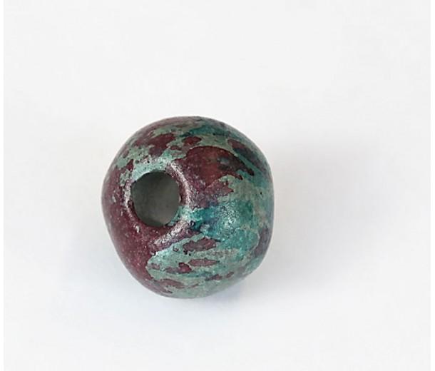 20mm Round Matte Ceramic Beads, Teal Khaki Mix
