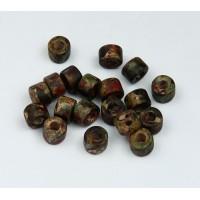 6x4mm Mini Barrel Matte Ceramic Beads, Speckled Mix