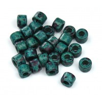 6x4mm Mini Barrel Matte Ceramic Beads, Teal Khaki Mix