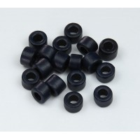 6x4mm Mini Barrel Matte Ceramic Beads, Navy Blue, Pack of 20