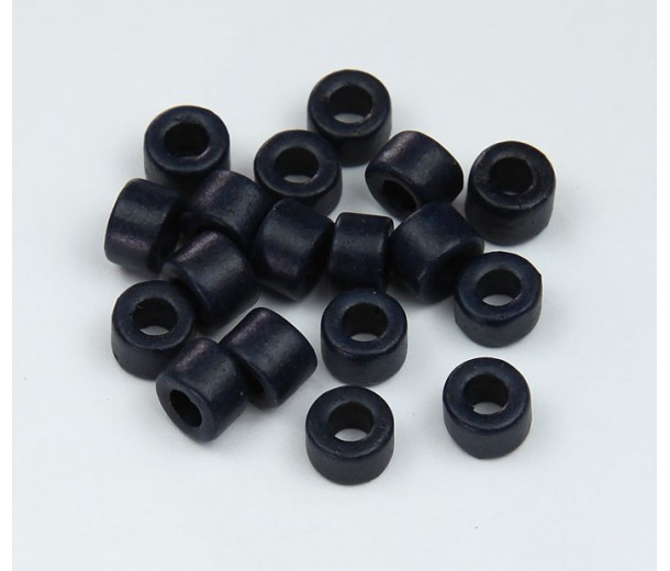 6x4mm Mini Barrel Matte Ceramic Beads, Navy Blue