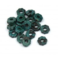 8mm Gear Matte Ceramic Beads, Teal Khaki Mix, Pack of 20