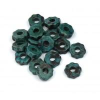8mm Gear Matte Ceramic Beads, Teal Khaki Mix, Pack of 20