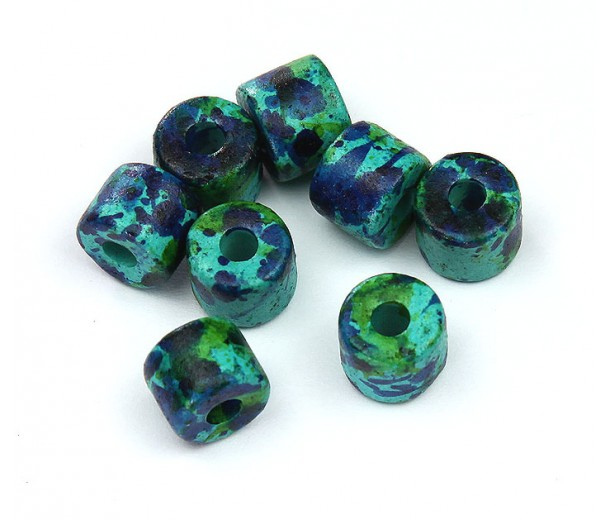 8x7mm Short Barrel Matte Ceramic Beads, Blue Green Mix, Pack of 10