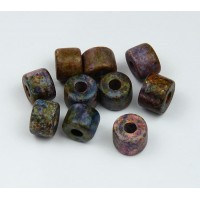 8x7mm Short Barrel Matte Ceramic Beads, Fancy Purple Mix