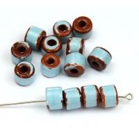8x7mm Short Barrel Pueblo Ceramic Beads, Light Blue