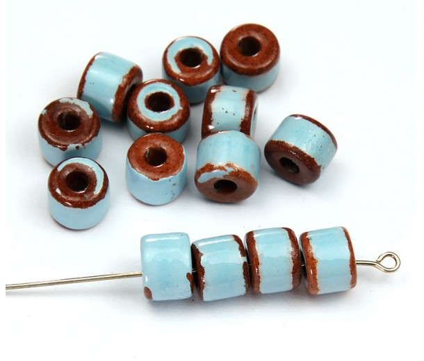 8x7mm Short Barrel Pueblo Ceramic Beads, Light Blue