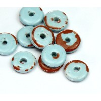 13mm Round Disk Pueblo Ceramic Beads, Light Blue, Pack of 4