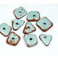 14mm Big Chip Pueblo Ceramic Beads, Light Blue