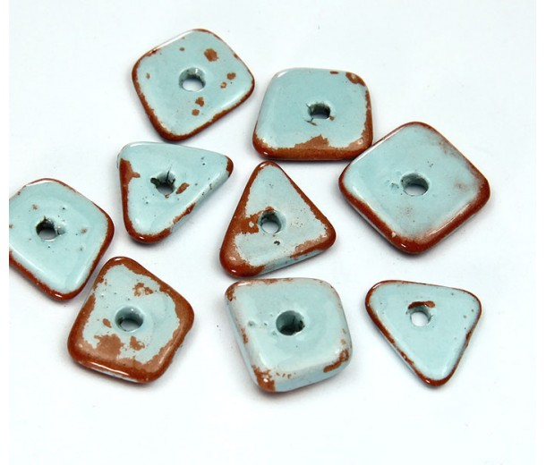 14mm Big Chip Pueblo Ceramic Beads, Light Blue