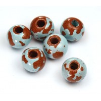 12mm Round Pueblo Ceramic Beads, Light Blue, Pack of 4