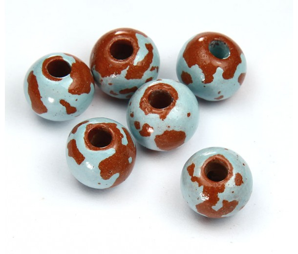 12mm Round Pueblo Ceramic Beads, Light Blue