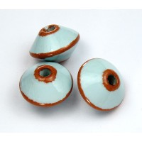 18x12mm Bicone Pueblo Ceramic Bead, Light Blue, 1 Piece
