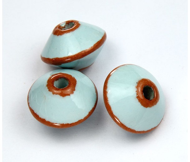 18x12mm Bicone Pueblo Ceramic Beads, Light Blue