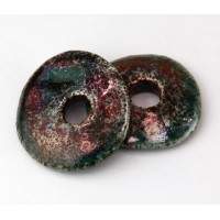 25mm Large Disk Raku Ceramic Focal Bead, Sea Copper