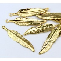 35mm Medium Feather Charms, Gold Tone, Pack of 10