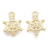 14mm Small Helm Charms, Gold Plated, Pack of 5