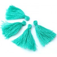 30mm Cotton Tassel Charms, Sea Green, Pack of 10