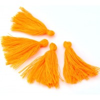 30mm Cotton Tassel Charms, Neon Orange, Pack of 10
