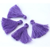 30mm Cotton Tassel Charms, Medium Purple, Pack of 10