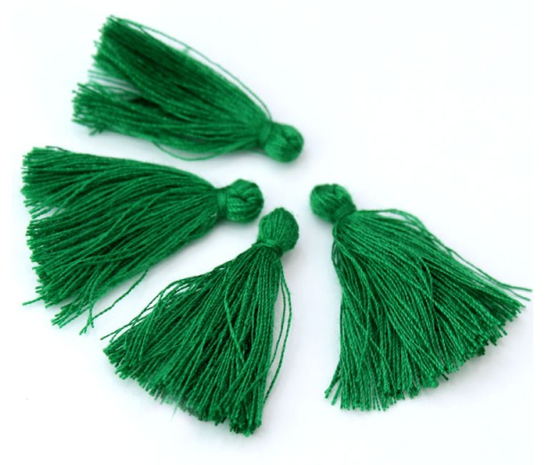 30mm Cotton Tassel Charms, Christmas Green, Pack of 10
