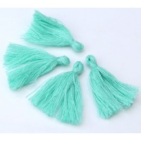 30mm Cotton Tassel Charms, Light Seafoam Green, Pack of 10