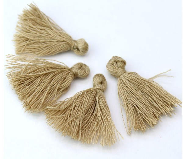 30mm Cotton Tassel Charms, Beige, Pack of 10