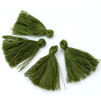 30mm Cotton Tassel Charms, Olive Green, Pack of 10