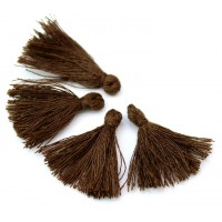 30mm Cotton Tassel Charms, Coffee Brown, Pack of 10