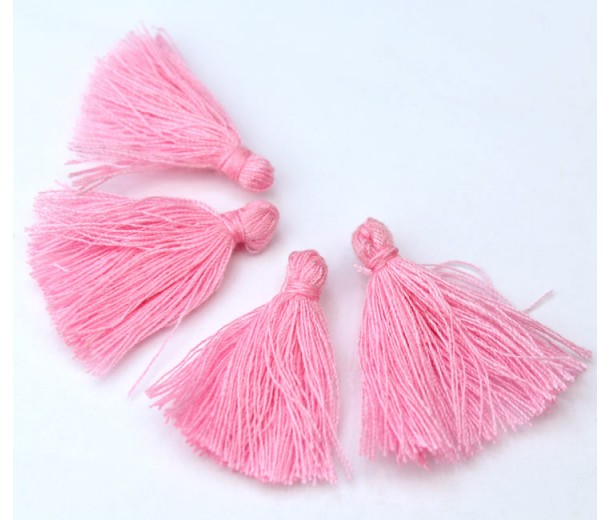 30mm Cotton Tassel Charms, Light Rose Pink, Pack of 10
