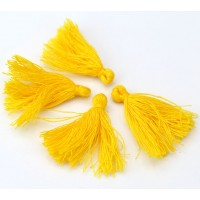30mm Cotton Tassel Charms, Golden Yellow, Pack of 10