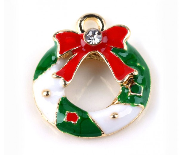 20mm Holiday Wreath Enamel Charm, Green Red and White on Gold Tone, 1 Piece