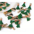 20mm Christmas Tree Enamel Charms, Green and Red on Gold Tone, Pack of 5