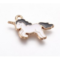 20mm Unicorn Enamel Charm, Black and White on Gold Tone