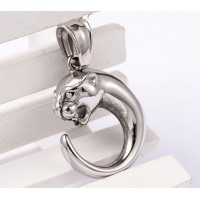 21mm Leopard Circle Pendant, Stainless Steel