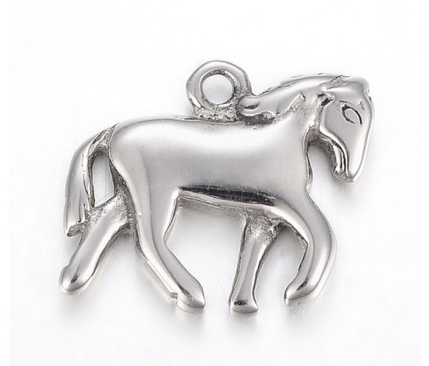 15mm Tiny Horse Charm, Stainless Steel, 1 Piece