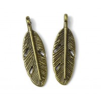 30x9mm Tail Feather Charms, Antique Brass, Pack of 10