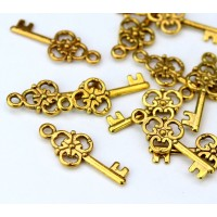 23x9mm Small Ornate Key Charms, Antique Gold, Pack of 10