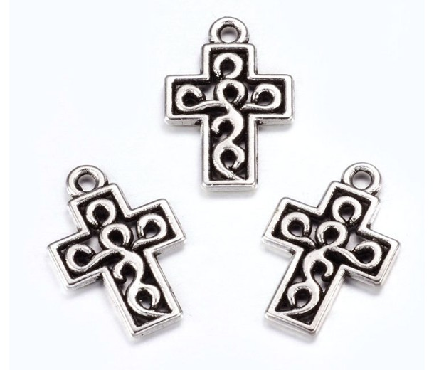 17mm Small Ornate Cross Charms, Antique Silver, Pack of 10