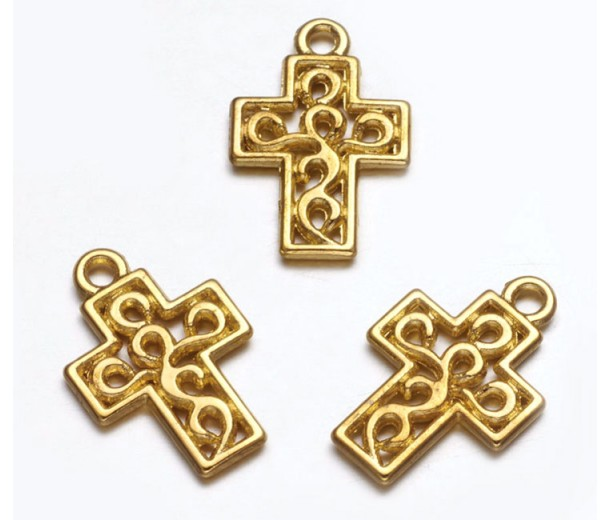 17mm Small Ornate Cross Charms, Gold Tone, Pack of 10